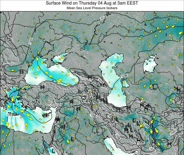Turkey Surface Wind on Friday 31 May at 3am EEST map