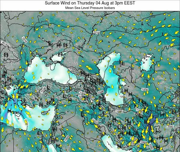 Turkey Surface Wind on Saturday 25 May at 3pm EEST
