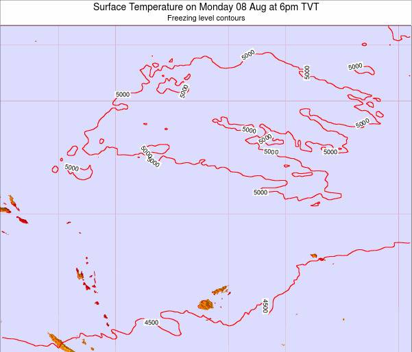 Tuvalu Surface Temperature on Saturday 25 May at 12pm TVT map