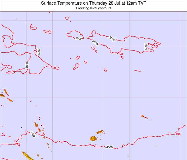 Tuvalu Surface Temperature on Monday 27 May at 12am TVT map