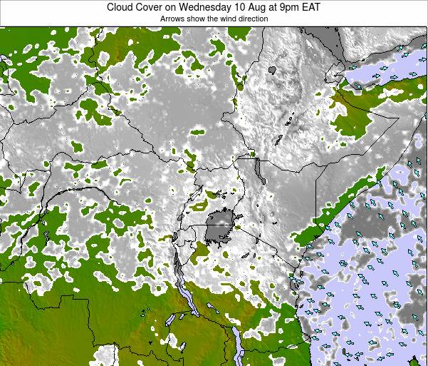 Kenya Cloud Cover on Monday 24 Jun at 9am EAT map