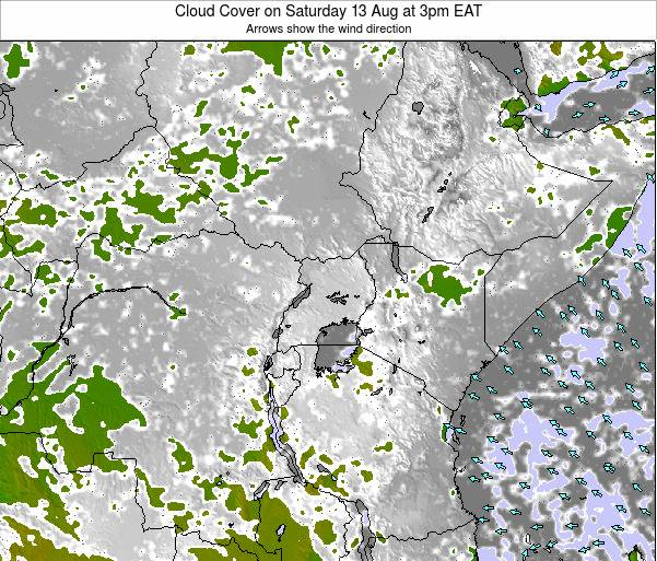Kenya Cloud Cover on Thursday 12 Dec at 3am EAT map