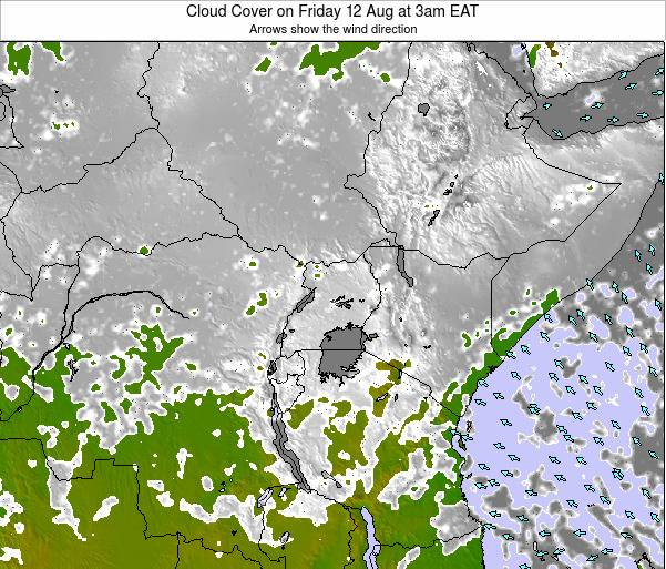 Kenya Cloud Cover on Tuesday 29 Jul at 3pm EAT map