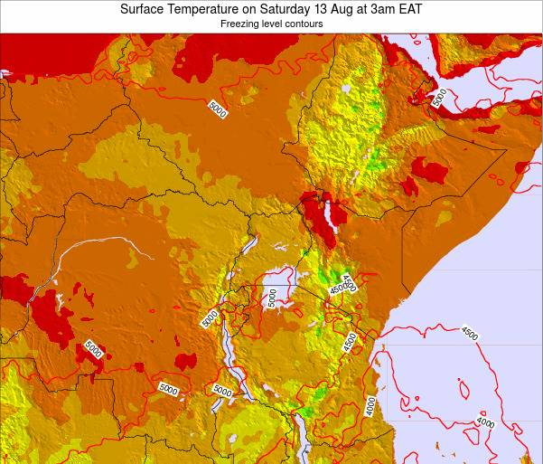 Tanzania Surface Temperature on Tuesday 28 May at 9pm EAT map