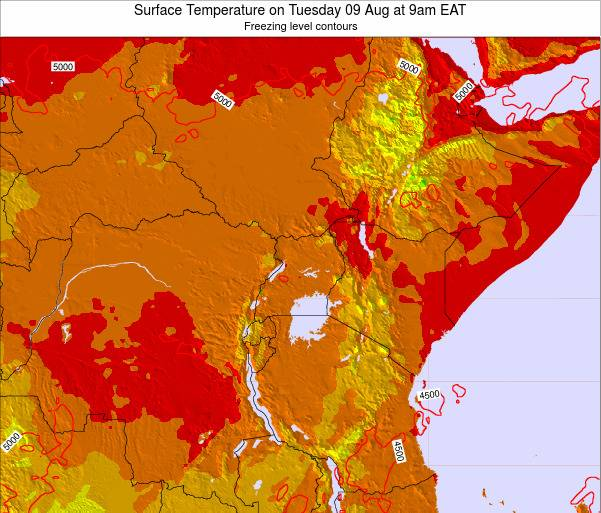 Tanzania Surface Temperature on Monday 27 May at 9am EAT map