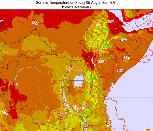 Tanzania Surface Temperature on Sunday 19 May at 9am EAT map