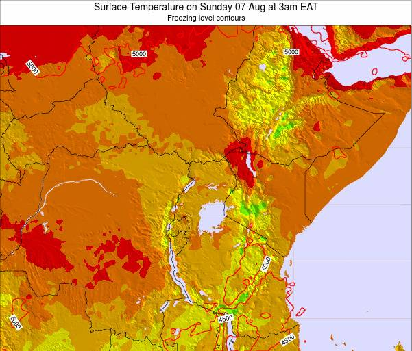 Tanzania Surface Temperature on Sunday 26 May at 9am EAT map