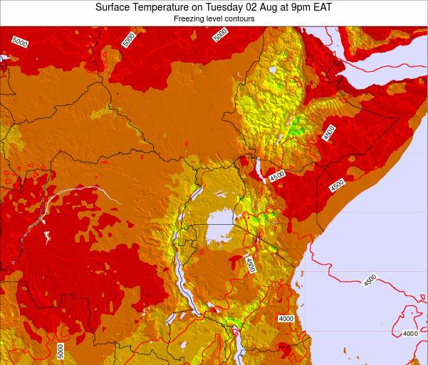 Rwanda Surface Temperature on Wednesday 15 Aug at 9pm EAT map