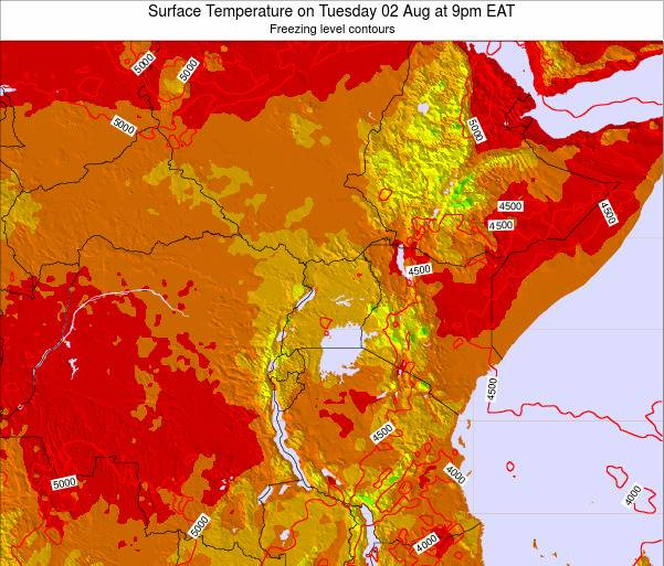 Tanzania Surface Temperature on Sunday 23 Jun at 3am EAT map