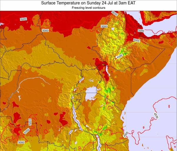 Tanzania Surface Temperature on Tuesday 21 May at 9pm EAT map