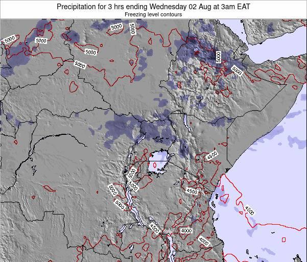 Rwanda Precipitation for 3 hrs ending Tuesday 22 Jan at 9pm EAT map