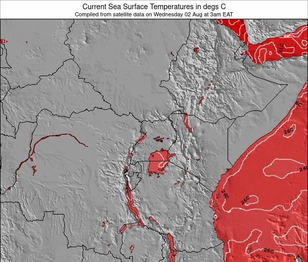Quênia Temperaturas da Superfície do Oceano Mapa