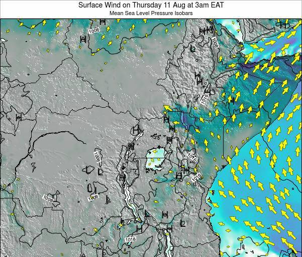 Uganda Surface Wind on Thursday 23 May at 9pm EAT