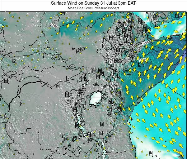 Uganda Surface Wind on Monday 02 Mar at 3pm EAT