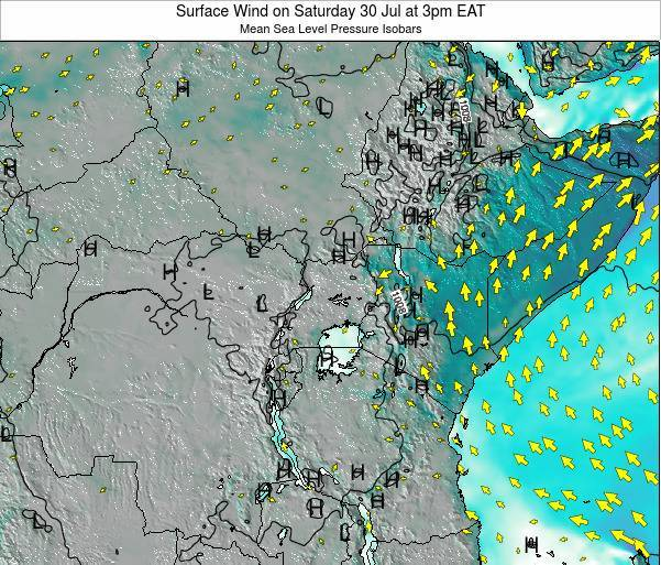 Uganda Surface Wind on Tuesday 10 Dec at 3pm EAT