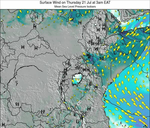 Uganda Surface Wind on Friday 18 Apr at 9am EAT