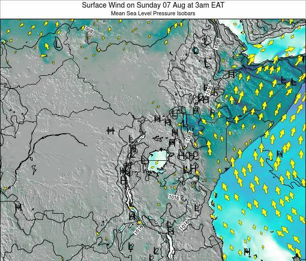 Uganda Surface Wind on Wednesday 23 Jul at 9pm EAT