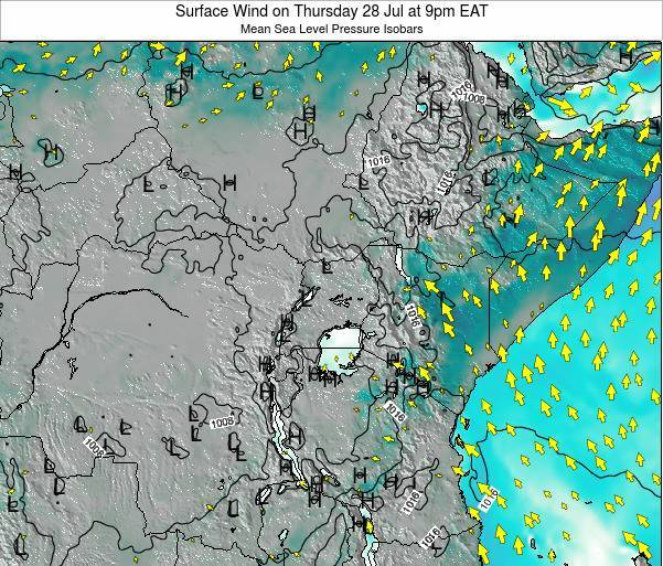 Uganda Surface Wind on Monday 24 Jun at 3pm EAT