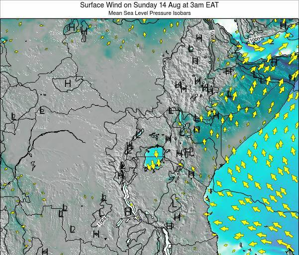 Uganda Surface Wind on Tuesday 28 May at 9pm EAT