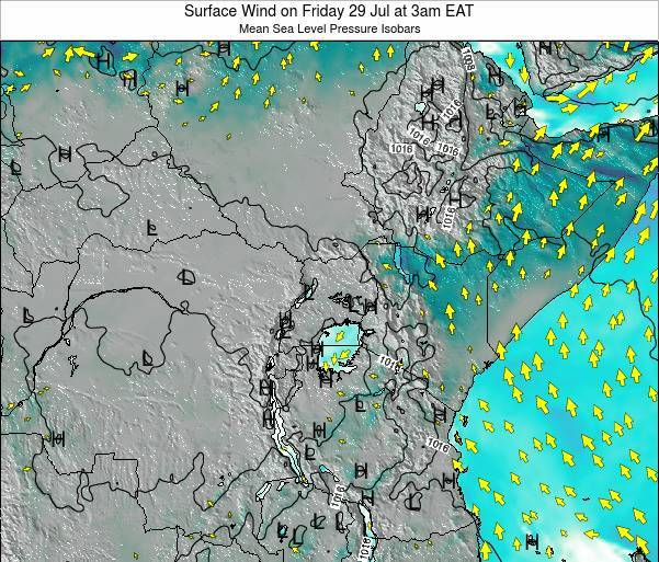 Uganda Surface Wind on Thursday 24 Apr at 3pm EAT