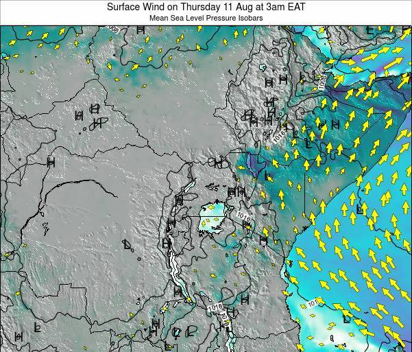 Uganda Surface Wind on Saturday 02 Aug at 9pm EAT