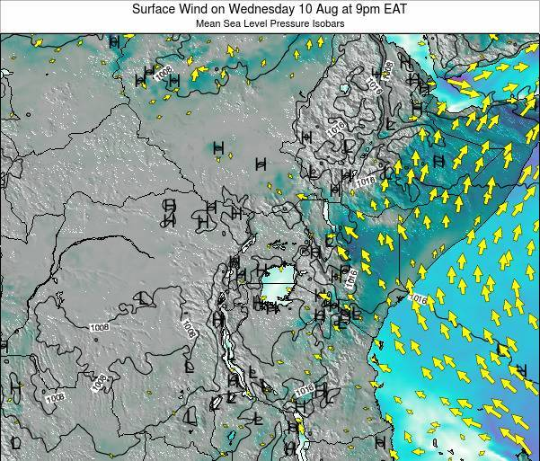 Uganda Surface Wind on Friday 24 May at 3am EAT