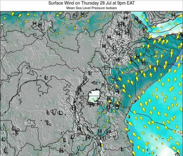 Uganda Surface Wind on Tuesday 02 Aug at 3pm EAT