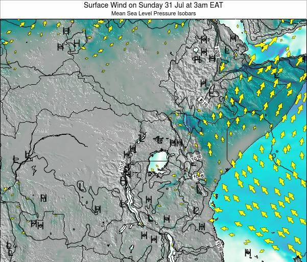 Uganda Surface Wind on Wednesday 30 Apr at 3am EAT