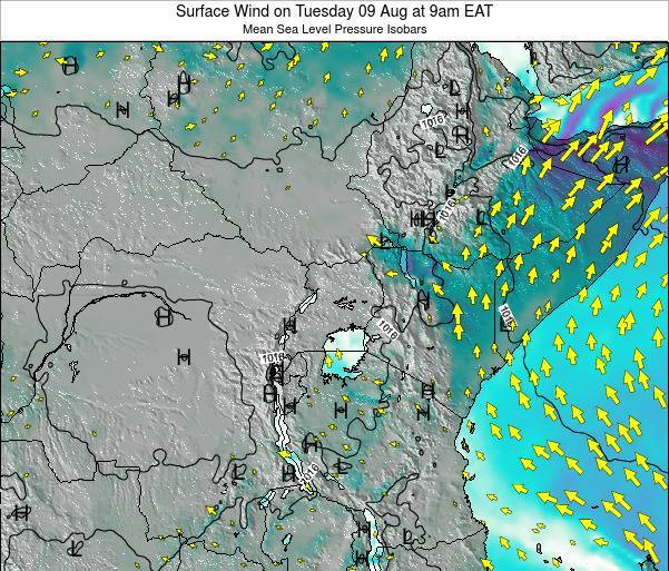 Uganda Surface Wind on Tuesday 28 Oct at 3pm EAT