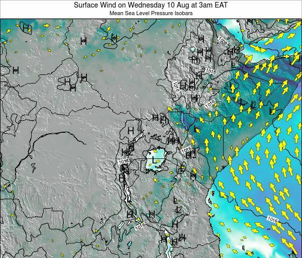 Uganda Surface Wind on Saturday 01 Jul at 9am EAT