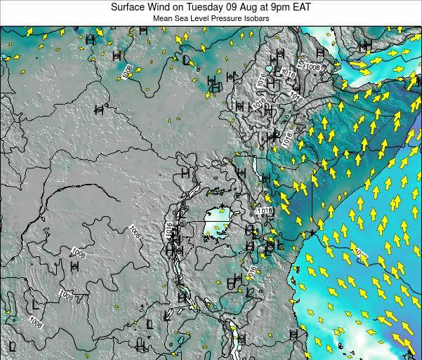 Uganda Surface Wind on Thursday 31 Jul at 9am EAT
