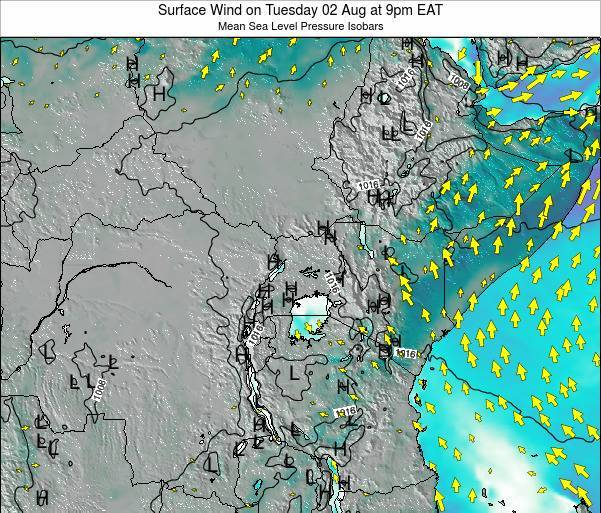 Uganda Surface Wind on Friday 31 May at 3pm EAT