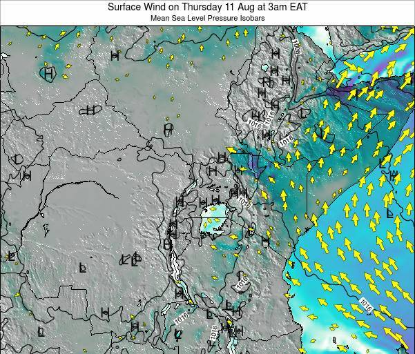Uganda Surface Wind on Thursday 30 May at 9am EAT