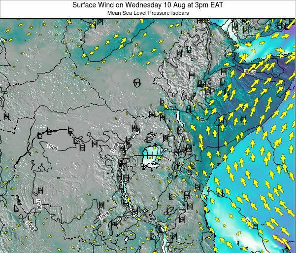 Uganda Surface Wind on Wednesday 29 May at 3am EAT
