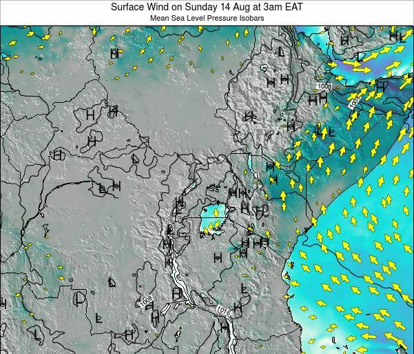 Uganda Surface Wind on Sunday 26 May at 3am EAT