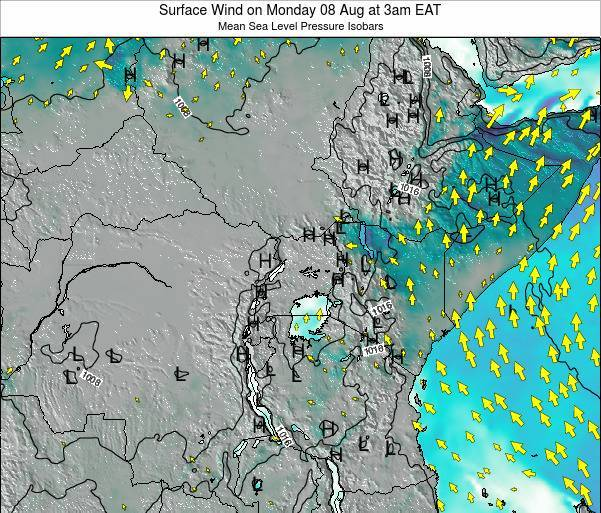 Uganda Surface Wind on Saturday 25 May at 9pm EAT