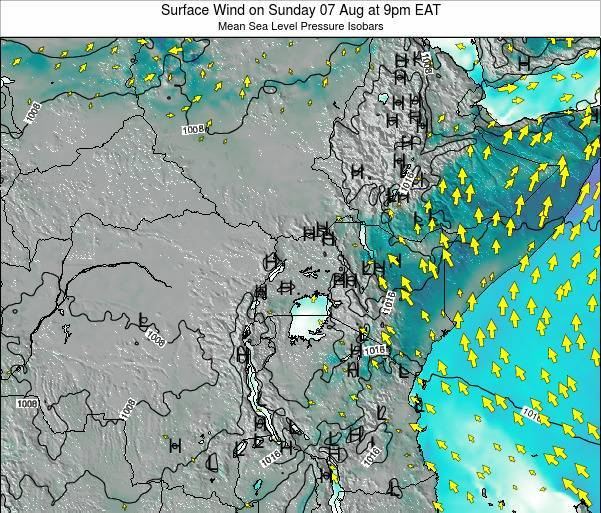 Uganda Surface Wind on Monday 27 May at 9am EAT