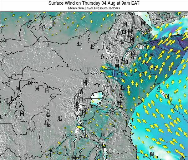 Tanzania Surface Wind on Thursday 20 Jun at 9pm EAT map