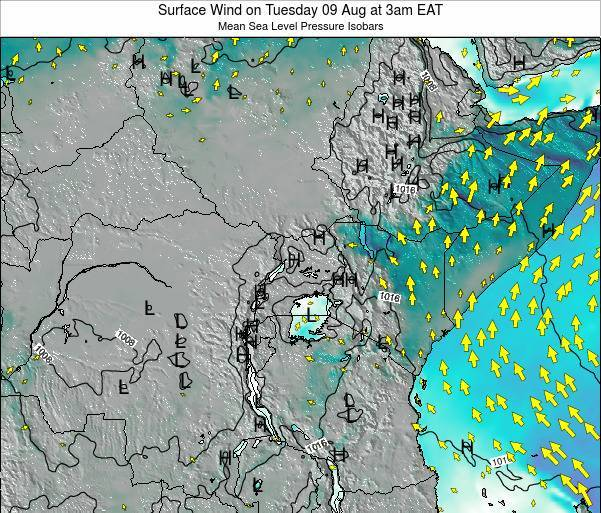 Tanzania Surface Wind on Friday 21 Jun at 3am EAT map