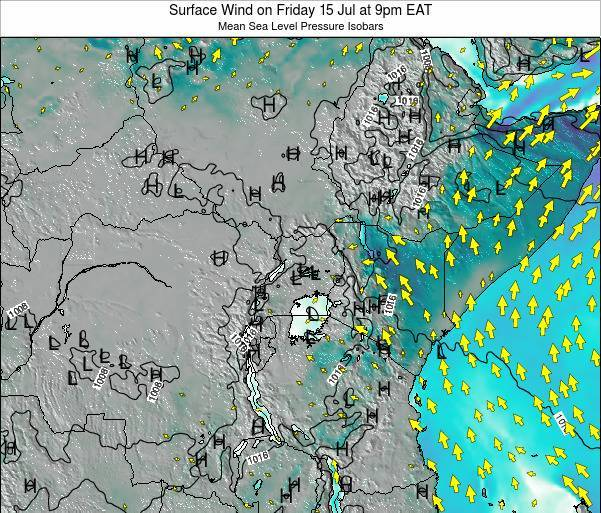 Kenya Surface Wind on Wednesday 19 Jun at 3pm EAT