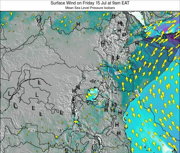 Kenya Surface Wind on Saturday 25 May at 9am EAT