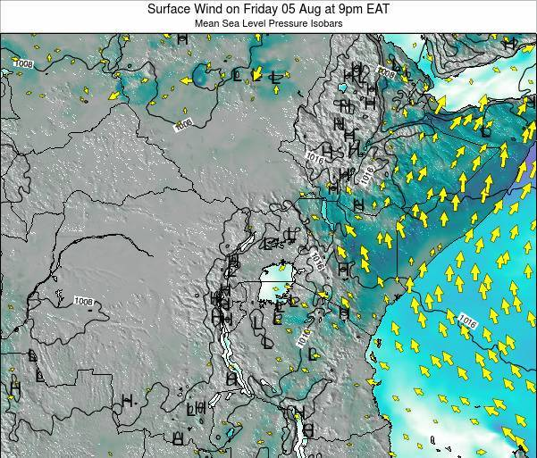 Kenya Surface Wind on Thursday 24 Jul at 9pm EAT