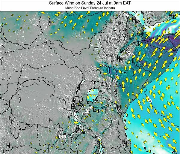 Tanzania Surface Wind on Monday 20 May at 9pm EAT map
