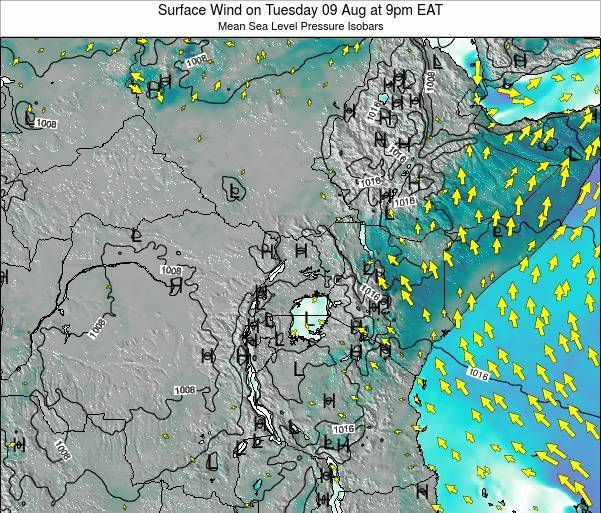 Uganda Surface Wind on Wednesday 22 May at 3pm EAT