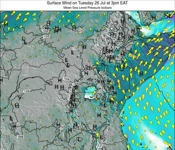 Tanzania Surface Wind on Sunday 23 Jun at 3am EAT map