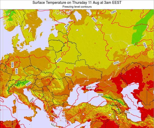Moldova Surface Temperature on Thursday 30 May at 3am EEST map