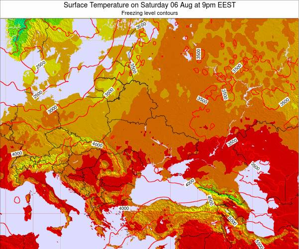 Moldova Surface Temperature on Thursday 20 Jun at 9am EEST map