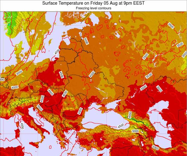 Ukraine Surface Temperature on Saturday 25 May at 9pm EEST map