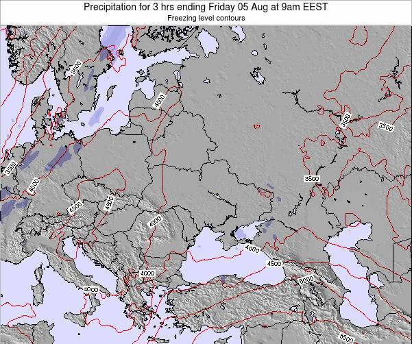 Moldova Precipitation for 3 hrs ending Saturday 25 May at 3pm EEST map