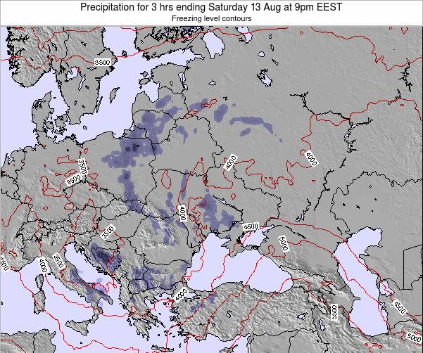 Moldova Precipitation for 3 hrs ending Monday 27 May at 9am EEST map